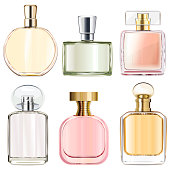 Vector Female Perfume Bottles isolated on white background