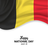 Vector festive illustration of Belgian National Day celebration. Vector design elements of the national day, holiday graphic icons.