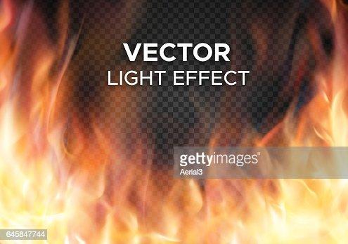 Vector de fuego llamas sobre fondo transparente : Arte vectorial