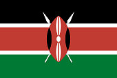 Vector flag of Kenya. Proportion 2:3. Kenyan national flag. Republic of Kenya. Vector EPS 10
