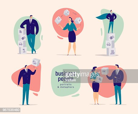 Vector flat cartoon illustration with business people office characters isolated on light background. Different business situation metaphors - achievements, planning, motivation, growth, partnership. : stock vector
