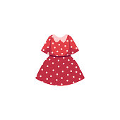 vector flat cartoon child baby girl kid red dotted dress. Fashionable trendy style summer, female casual fancy festive clothing. Isolated illustration on a white background.