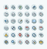 Vector thin line icons set and graphic design. Illustration with contact us, technical support service outline symbols. Communication, client call, envelope, customer care flat color pictogram