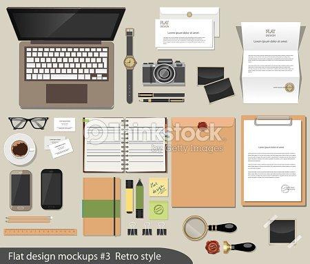 Vector Flat Design Concept Of Mockup куекщ Office Desk Essentials Art