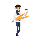 vector cartoon young man in scarf, pants and pullover holding baguette bread loafs and glass of red wine. French parisian style male portrait full length. Isolated illustration ona white background