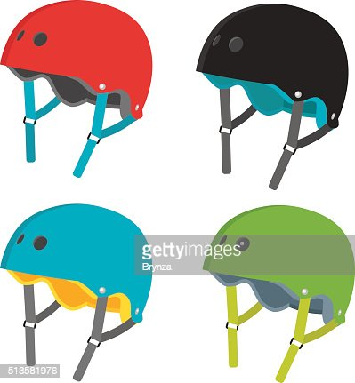 Vector flat helmets icons isolated on white background : stock vector