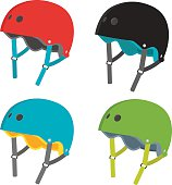 Vector set of helmet icons. Flat helmets isolated on white background. Helmets for extreme sports- roller skating, skateboarding and biking. Flat illustration of protective gear.