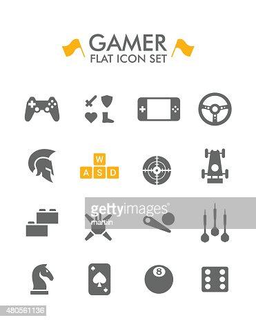 Vector Flat Icon Set - Gamer : Vector Art