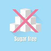 vector flat icon sign sugar free, refined sugar