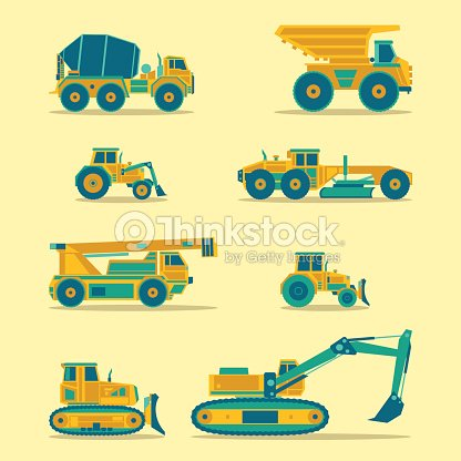 Vector Flat Icons Set Of Construction Vehicles Road