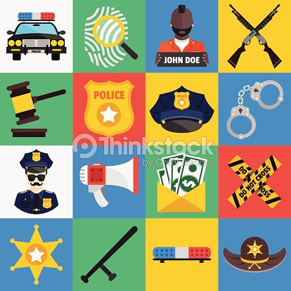 Vector Flat Icons Set Of Police Symbols Vector Art Thinkstock