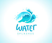 Vector flat illustration of water splashes emblem isolated on white background. Water wave curling icon. Hand written font. Good for pure water label,  design, packaging label.