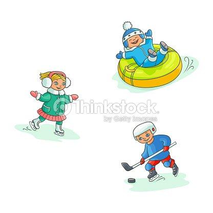 Vector flat kids doing winter outdoor sport set
