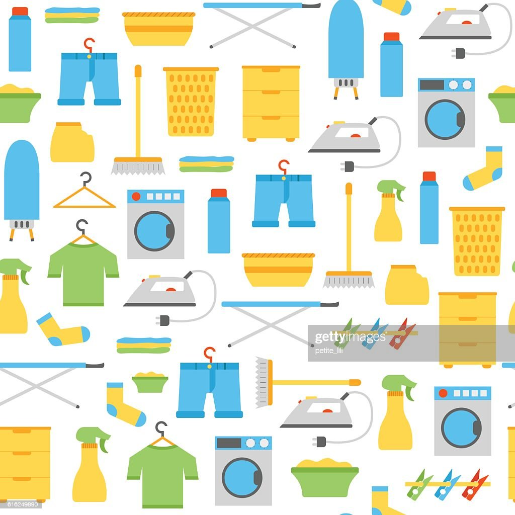 Vector flat laundry room background : Arte vectorial