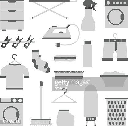 Vector plano lavandería objetos : Arte vectorial