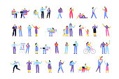Vector crowd. Different Flat people set isolated on white background.
