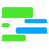Vector flat phone chat bubbles. Sms messages. Speech bubbles. Short message service bubbles.