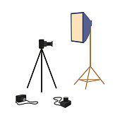 vector flat cartoon professional photo equipment set. Lens photo camera standing at special tripod stand, softbox. Isolated illustration on a white background.