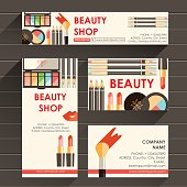 Vector flat ready design template for makeup artist, makeup studio or cosmetics shop. Site header,  business card, brochure and flyer.Beauty fashion products. Decorative cosmetic. Eye shadow, mascara,