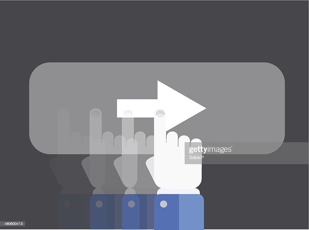 Vector flat slide with hand background. Eps 10 : Vector Art