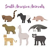 Vector flat style set animals of South America. Icon for web. Isolated on white background.
