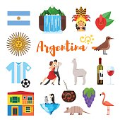 Vector flat style set of Argentina national cultural symbols. Icon for web. Isolated on white background.