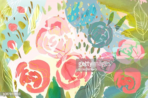 Vector floral background with hand drawn pastel colored flowers, leaves and branches . Lush foliage and blossom illustration. Spring or summer romantic design background. : Vector Art