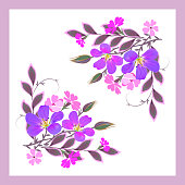 Vector floral pattern for design scarf, scarf, textile. Violet and pink flowers with decorative leaves and buds in a pink frame on a white background