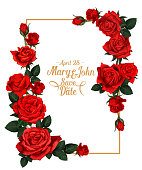 Wedding save the date picture frame or marriage invitation card of red rose flowers. Vector design template of photoframe for wedding photo with floral bunch decoration