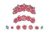 vector flower crown. red rose wreath headband