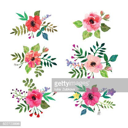 Vector flowers set. Floral collection with watercolor leaves and flowers. : Vector Art