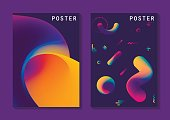 Vector fluid curve shape in motion, A4 format. For trendy posters, banners, card templates, annual reports.