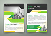 Vector flyer, cover design of the companys annual business report, magazine page, presentation template with green elements and black white buildings. Advertising brochure of the real estate agency