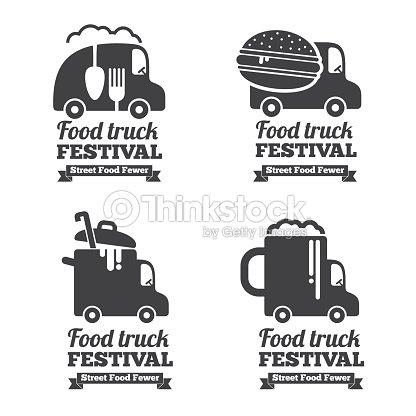 Vector Food Truck Logos Emblems And Badges stock vector
