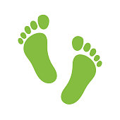 Vector footprint illustration - human foot print symbol, feet silhouette isolated flat illustration