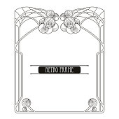 Vector stylized frame in Art Nouveau or Modern style in black isolated on white. Ornate Art Nouveau frame in contour style for coloring book and vintage decor. Retro design.