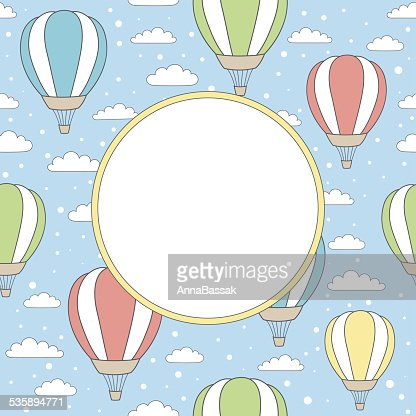 vector frame with air balloons, clouds and snow : Vectorkunst