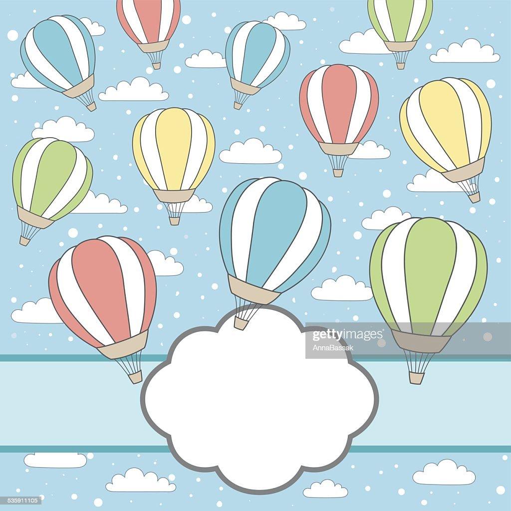 Marco de vector con nubes y los globos de aire, nieve : Arte vectorial