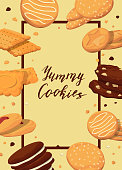 Vector frame with cartoon cookies around it with place for text in center illustration