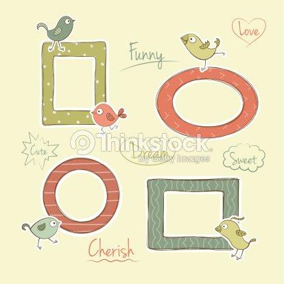 Vector Frames With Cartoon Birds Vector Art | Thinkstock