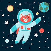 Vector funny astronaut fox in space with planets and stars. Cute cosmic illustration for children on blue background