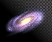 Isolated spiral galaxy on a transparent background, the Andromeda galaxy, the Milky Way, the cosmic nebula