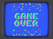 Vector game over phrase in pixel art 8 bit style with glitch VHS effect. Three color half-shifted letters. Ocassional pixels and modern geometric decor elements around placed on old blue TV screen