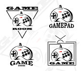 Vector gamepad emblem. Game design, old, retro, vintage arcades, in monochrome style. Sign, banner, emblem of the tournament. Emblem of video games. Computer Club.