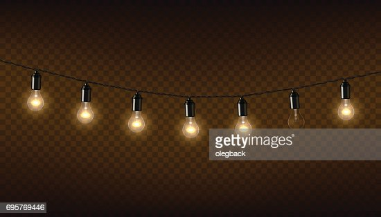 Vector garland of lamps on brown transparent background. : Vector Art