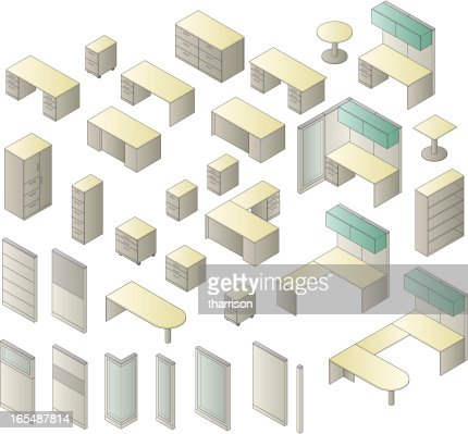 isometric office furniture vector collection. isometric office furniture vector collection r