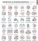 Vector Genetics and biochemistry color flat line outline icons for apps and web design. Genetics chemical high technology elements icons