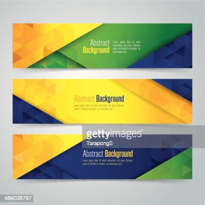 Vector Geometric Banner In Brazil Flag Concept Vector Art | Thinkstock