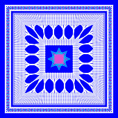 Vector geometric pattern for design scarf, hijab, scarf, tiles blue background.