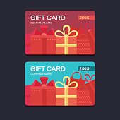 Gift card template. Vector template for design. Gift voucher. Gift coupon. Discount coupon. Template for text. Template in flat style. Business template. Special offer for the customer. Vector backgro